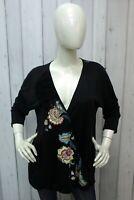 Desigual Donna Taglia XL Maglietta Nera Viscosa Maglia T-shirt Manica 3/4 Woman