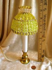 BEADED SHADE FOR WINDOW TABLE NIGHT LIGHT ELECTRIC CANDLE  LEMON YELLOW