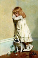 Art Oil painting Charles Burton Barber In Disgrace little girl with her pet dog