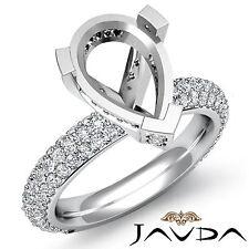 Pear Semi Mount Pre-Set Side Diamond Engagement Women Ring Platinum 950 1.45Ct