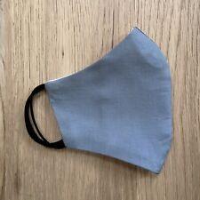 Triple Layer Plain Dark Grey Cotton Fabric Face Mask Reusable Filter Pocket