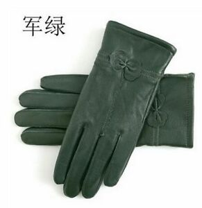 Women Genuine Leather Gloves Sheepskin Gloves Windproof For Autumn And Winter