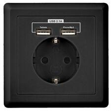 """Minadax® Schutzkontakt Steckdose 230V 220V """"Schwarz"""" mit 2 x USB Anschluss"""