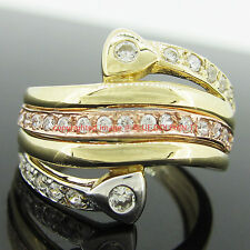 Real Solid 9ct Yellow Rose Gold Engagement Wedding Dress Ring Simulated Diamonds