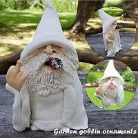 Garden Gnome Ornaments Smoking Wizard Big Tongue Gnomes Naughty Lawn Decoration