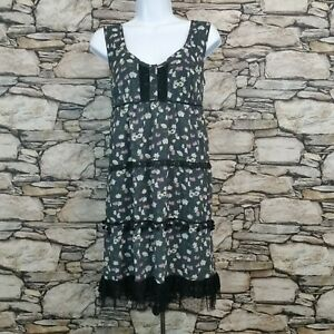 Fire Los Angeles Womens Sleeveless Dress Size Med Floral Lace Accent Yarn Balls