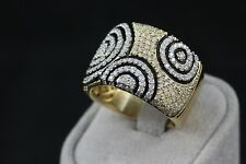 18K Solid Yellow Gold Pave Diamond Circle Design Band Ring Cigar Cocktail Size 8