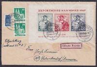Bizone Block 1 MiF Eilboten Fernbrief, München - Unterschondorf 03.12.1949