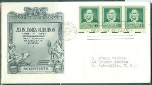 US -FDC.874 JAMES AUDUBON CANCEL.francisville  LA.APR.1=8.1930 ADDR.
