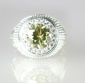 Stunning Collection 4.83 Ct Green Diamond Solitaire Men's Designer Halo Ring