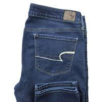 American Eagle Womens 12 Short Skinny Dark Wash Blue Stretch Jeans