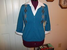 KIM ROGERS LADIES SIZE S 2 IN 1 LAYERED SWEATER NWT ARGYLE PRINT TEAL GRAY PULLO