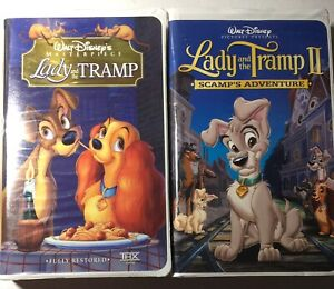 Lot of 2 Lady & The Tramp Masterpiece, & Scamp's Adventure VHS