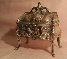 Victorian Furniture Dresser Box silverplate vtg jewelry french doll house art