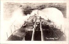 1910-1930 Military Postcard Real Photo RPPC Torpedo Boat ? Ship Navy ? Heavy Sea