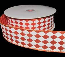 5 Yards Orange White Jester Harlequin Diamond UT Tennessee Colors Wired Ribbon 1