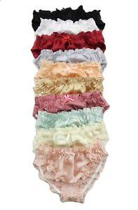 6 Pieces 100% Pure Silk Women's Intimates Bikini Panties Size S M L XL 2XL 3XL