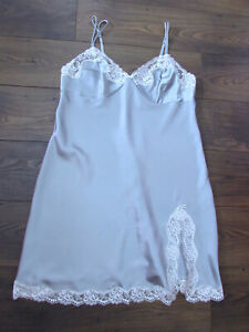 Marks & Spencer Ladies Duck Egg Blue Cream Satin Night Dress Nightie Size 20