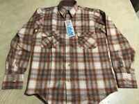 VINTAGE Wild River mens Small shirt Brown Red plaid wool blend Woolrich