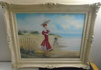 """VTG ORIGINAL FRAMED OIL PAINTING PLAYGROUND BY THE SEA LINDA VACHON 26.5"""" X 31"""""""