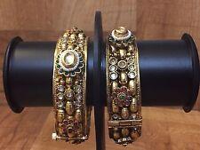 CLEARANCE High Quality Gold Plated Polki Bangle Bracelet Kundan Pearl Kada SZ2.4