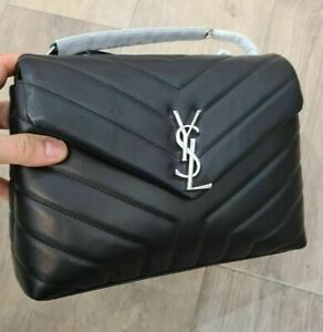 Yves Saint Laurent LouLou YSL Black Monogram Shoulder Bag Small silver hardware