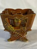 Vintage Fruit Brown/gold Ceramic Footed Planter Grapes And Apples N