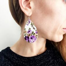Pop Rose Floral Teardrop Leather Earrings for Women Unique Statement Earrings