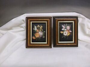 2. PRETTY VINTAGE .  CONSORT PICTURES FRAMED .SILK SCREEN PRINT FLORAL.
