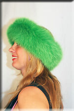 New Emerald Green Fox Fur Headband 26 Inches Long and 5 Inches Wide - Efurs4less