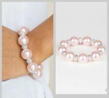 "Paparazzi ""extra Elegant - Pink"" Faux Pearl Stretch Bracelet"