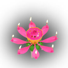 Plastic+Wax Magic Lotus Flower Flame Candles Happy Birthday Cake Party Gift