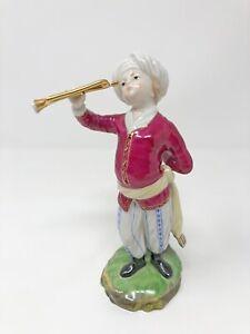 Höchster Porzellan Figur Trompeter aus der Türkenkapelle, Musikant mit Trompete
