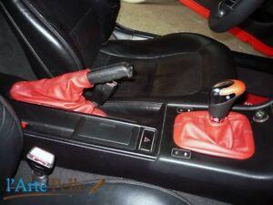 Écouteurs Levier de Vitesses et Frein BMW Z3 Vraie Cuir Rouge