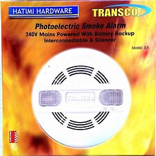 Mains Powered 240V AC Photoelectric Smoke Alarm With 9V Dc Backup Battery