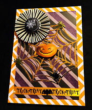 """Halloween """"Trick or Treat Web"""" Cards Brand New Home Made Set of 4 cards"""