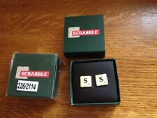 2 SETS SCRABBLE CUFF LINKS BOTH THE  LETTER S NEW BOXED