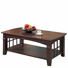 Coaster 700008 Cherry Abernathy Rectangular Coffee Table With Shelf