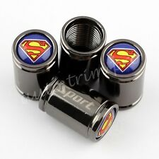 4X Car Accessories Titanium Wheel Tyre Valve Dust Cap Covers Superman Badge Trim