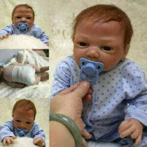"20"" Newborn Reborn Lifelike Baby Silicone Vinyl Baby Boy Doll Blue Eyes New Gift"