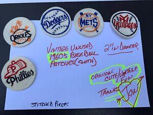 Vintage 1960s Baseball uniform patches lot five total original nice condition