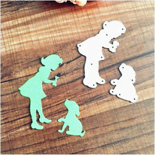 Dog and Girl Metal Cutting Dies Stencil Scrapbook Album Decorative EmbossingLD