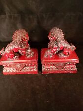 Red Imperial Guard Lion Foo Dog Statues