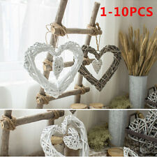 Large Wall Hanging Shabby Chic White Rattan Wicker Heart Wreath Home Decoration