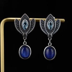 Boho 925 Silver Natural Drop Dangle Hook Earrings Fashion Jewelry Gift Wholesale