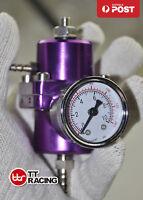 Universal Adjustable Fuel Pressure Regulator Kit w/ Gauge EVO FTO GTO Purple