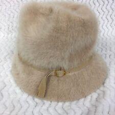 Kangol Vintage Fuzzy Cloche Hat Toasted Beige 1970s