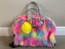 Justice Furry Rainbow Emoji Rolling Duffle Bag