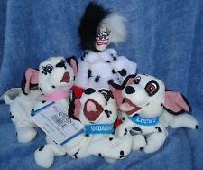 Mint Disney 101 Dalmatians Bean Bag Dolls-Cruella, Lucky, Jewel, 101 Dalmatians