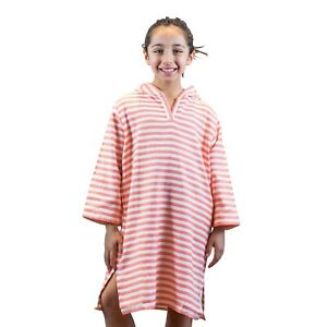 Coral Hooded Cotton Poncho Towel w Hood for Kids Beach Pool Towel Turkish Cotton